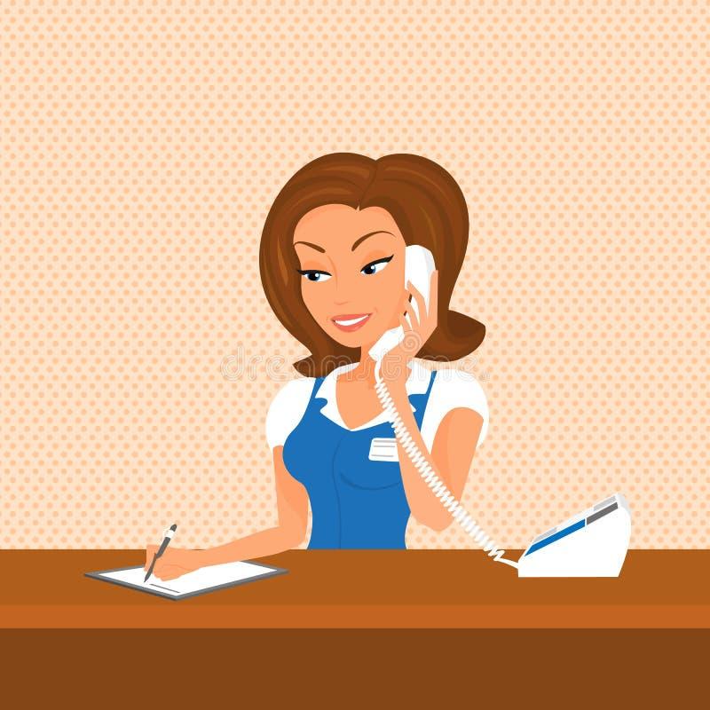 El recepcionista de sexo femenino está tomando una llamada ilustración del vector