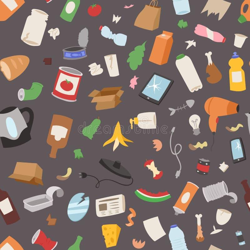 El reciclaje de bolsos de basura de la basura puede embotellar el reciclaje del fondo inconsútil del modelo del ejemplo del vecto libre illustration