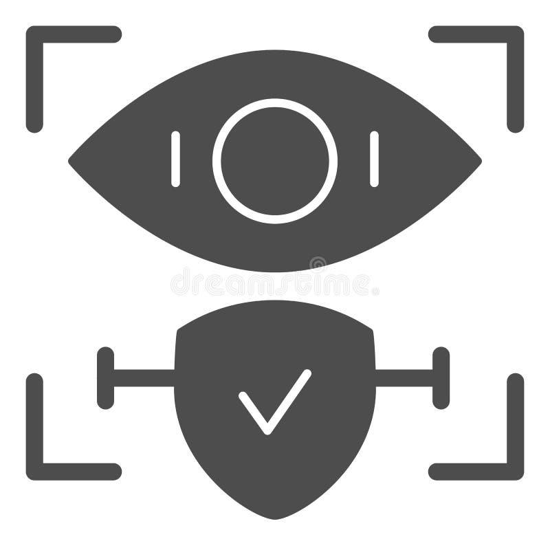 El reconocimiento de la retina aprobó el icono sólido Ejemplo del vector de la identificación y del control del ojo aislado en bl stock de ilustración