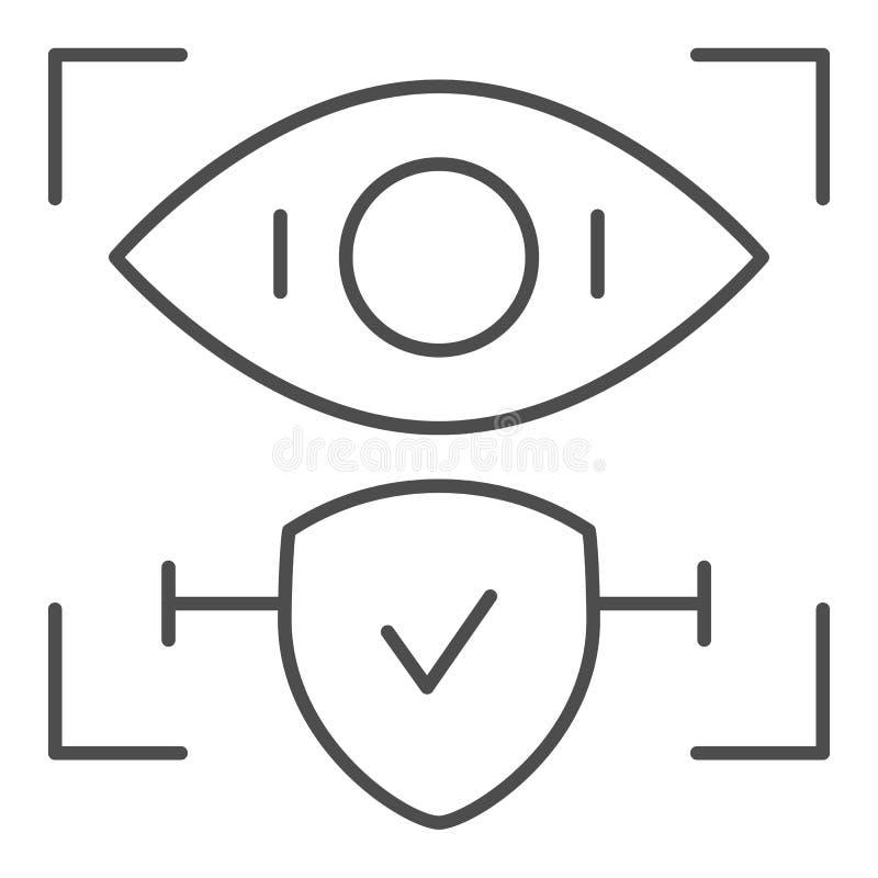 El reconocimiento de la retina aprobó la línea fina icono Ejemplo del vector de la identificación y del control del ojo aislado e ilustración del vector