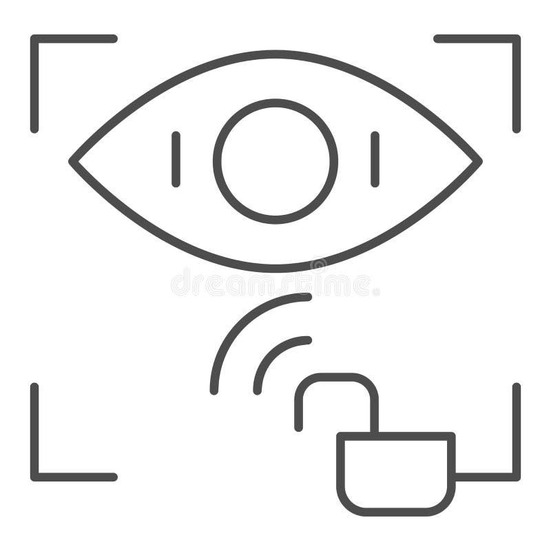 El reconocimiento de la retina desbloqueó la línea fina icono Ejemplo del vector del acceso de la identificación del ojo aislado  stock de ilustración