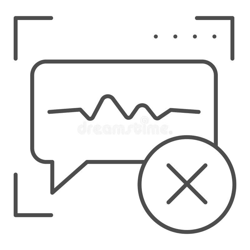 El reconocimiento vocal negó la línea fina icono Ejemplo incorrecto del vector de la identificación de los sonidos aislado en bla libre illustration