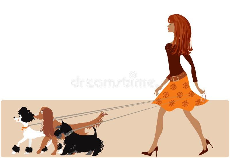 El recorrer con los perros stock de ilustración