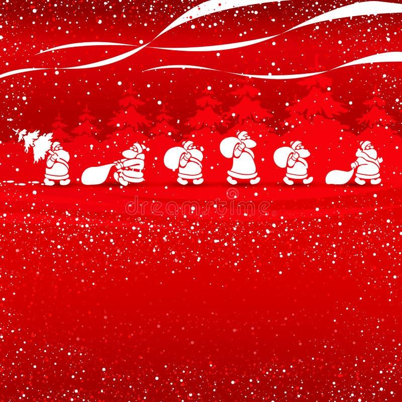 El recorrer de Cristmas Santas stock de ilustración