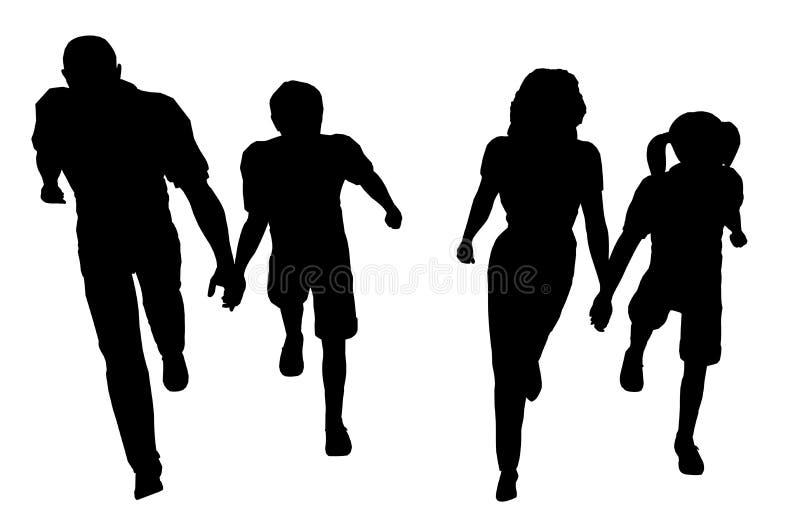 El recorrer de la familia ilustración del vector