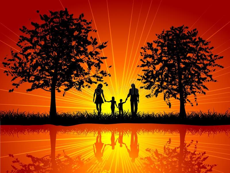 El recorrer de la familia stock de ilustración