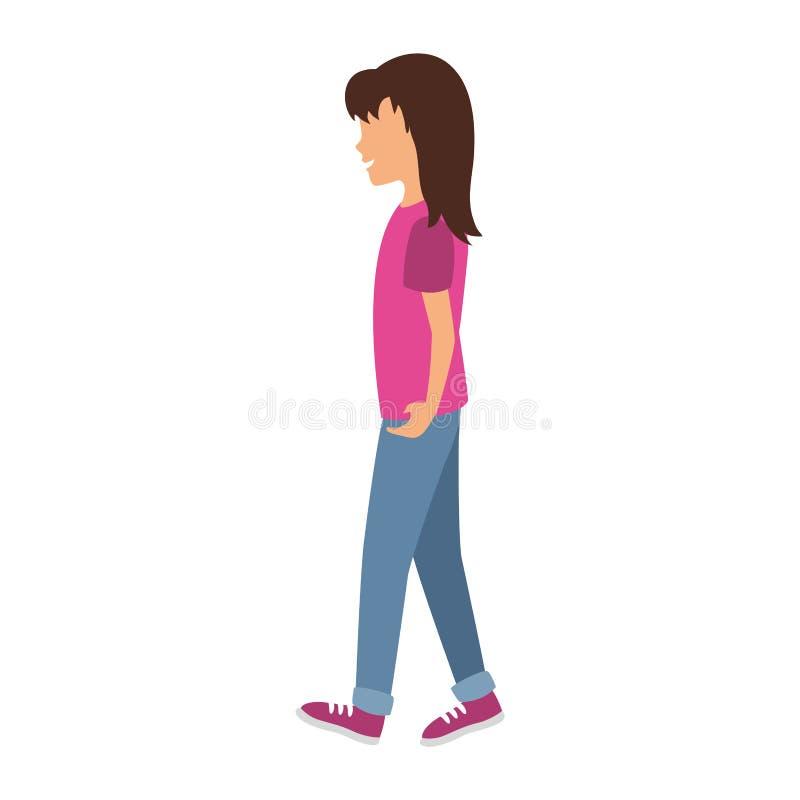 El recorrer de la mujer joven stock de ilustración