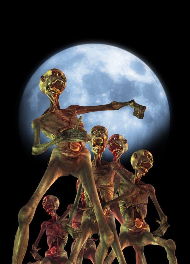 El recorrer de los zombis ilustración del vector
