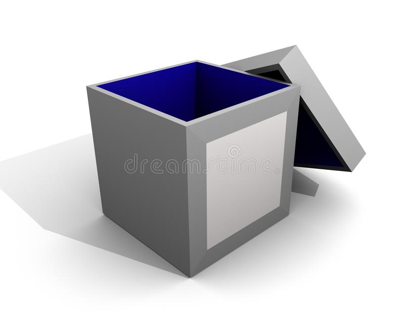 El rectángulo azul marino blanco vacia la cubierta abierta/en blanco ilustración del vector