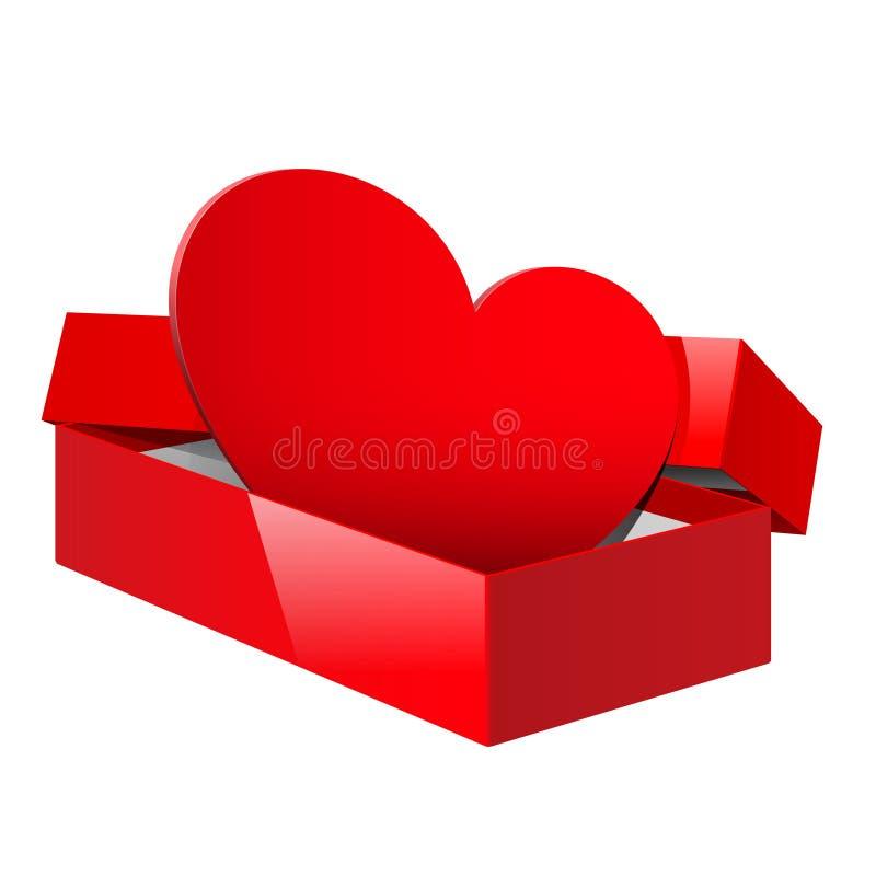 El rectángulo rojo realista del conjunto se abrió con un corazón rojo stock de ilustración