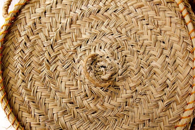 El redondo de esparto handcraft el círculo España de la cestería fotografía de archivo