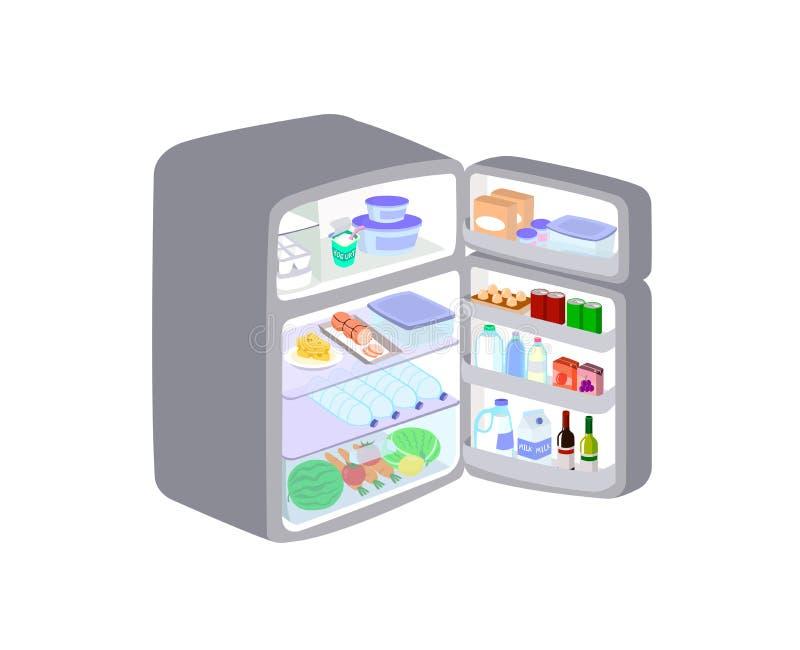 El refrigerador gris fue abierto la puerta aislada en el fondo blanco El refrigerador guarda las frutas y la comida para mantener stock de ilustración