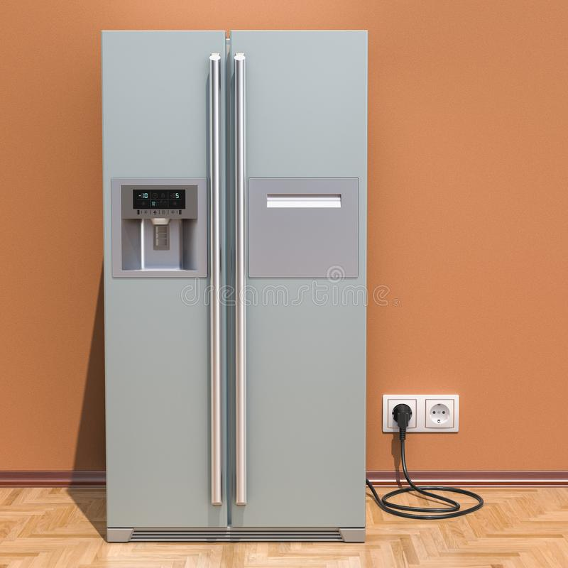 El refrigerador moderno con de lado a lado el sistema de la puerta en el interior, 3D arranca stock de ilustración