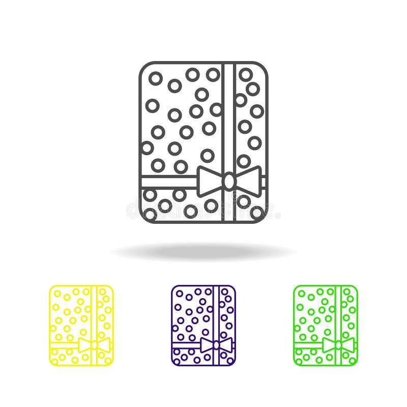 El regalo de Diwali de la caja coloreó iconos en el fondo blanco Elementos indios de los días de fiesta del festival hindú de Diw ilustración del vector