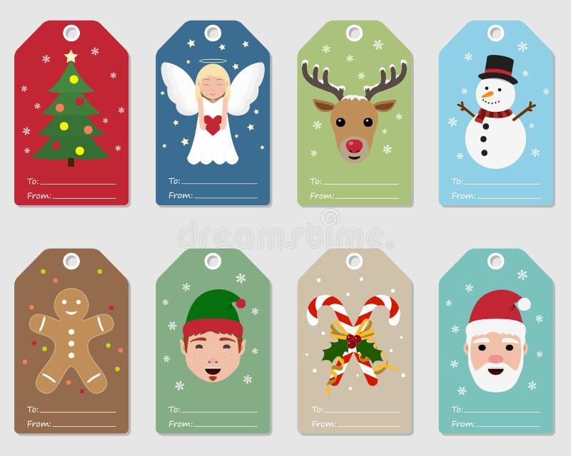 El regalo de la Navidad marca el ejemplo con etiqueta decorativo libre illustration