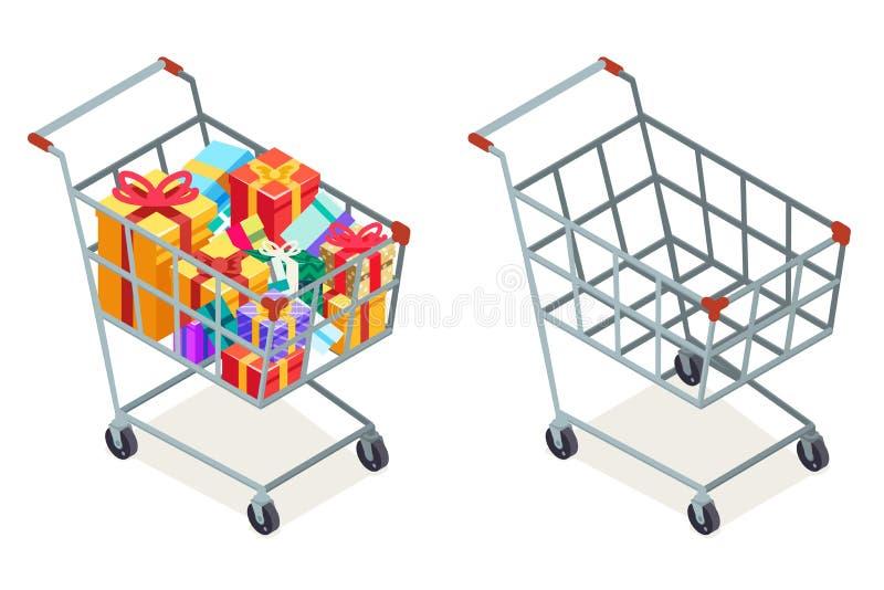 El regalo de las mercancías de la compra del carro de la compra aisló el ejemplo plano del vector del diseño del icono isométrico ilustración del vector