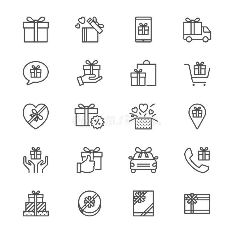 El regalo enrarece iconos libre illustration