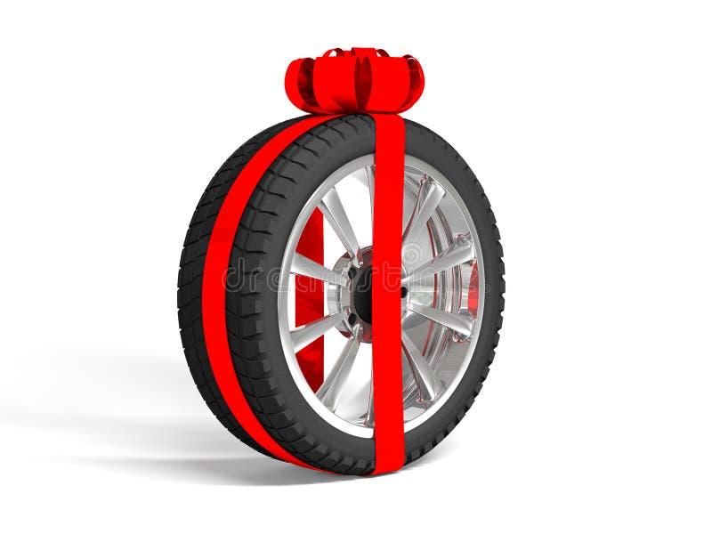 El regalo fijó cuatro neumáticos representación 3d fotos de archivo libres de regalías