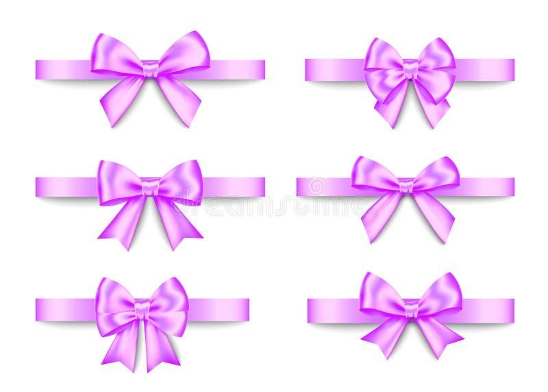 El regalo púrpura arquea el sistema para la Navidad, decoración del Año Nuevo stock de ilustración