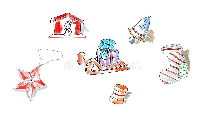 El regalo retro del muñeco de nieve de la estrella del trineo de los elementos de los garabatos del bosquejo de la Navidad juega  libre illustration