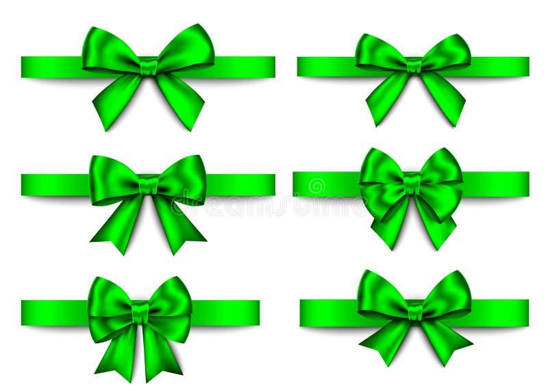 El regalo verde arquea el sistema para la Navidad, decoración del Año Nuevo ilustración del vector