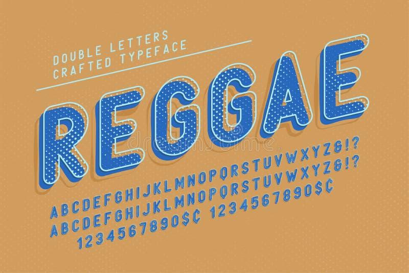 El reggae condensó el diseño del popart de la fuente de la exhibición, alfabeto, letras libre illustration
