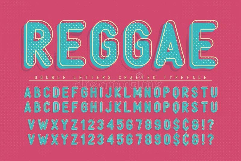 El reggae condensó el diseño del popart de la fuente de la exhibición, alfabeto, letras stock de ilustración