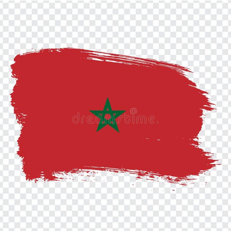 El reino de la bandera de Marocco aisló Bandera de Marocco, fondo del movimiento del cepillo Bandera Marocco en fondo transparent ilustración del vector