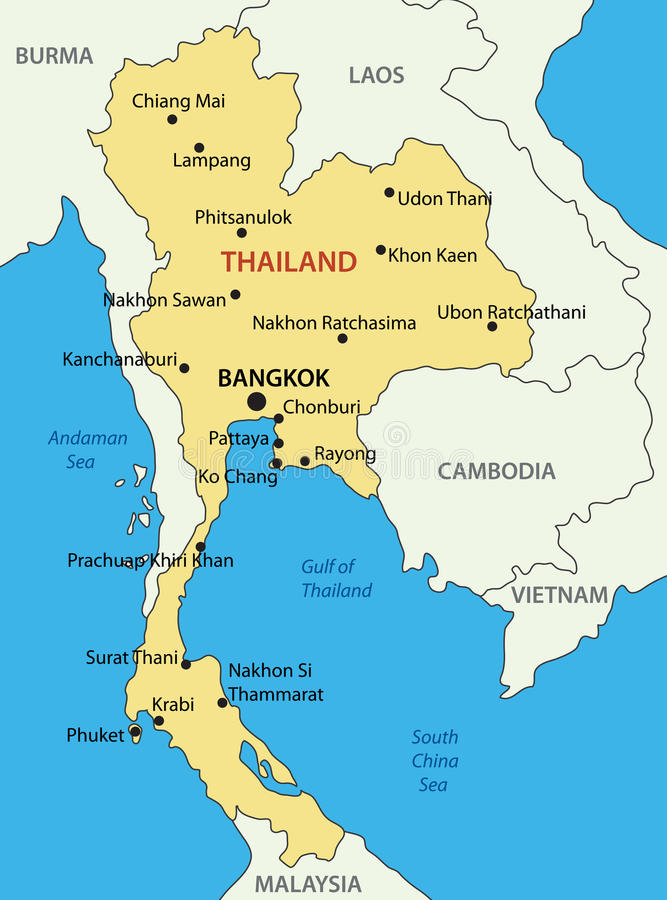 El Reino de Tailandia - mapa stock de ilustración