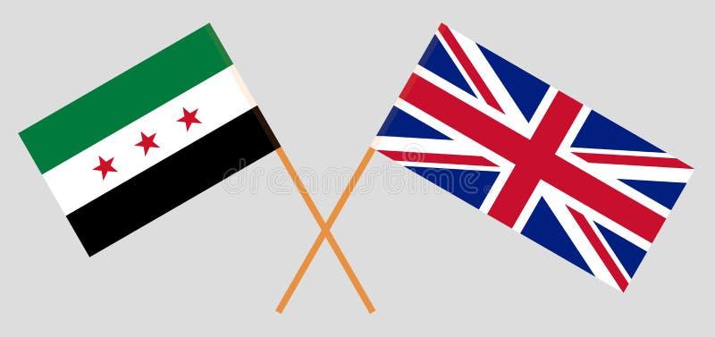 El Reino Unido y el gobierno provisional de Siria Banderas británicas y de la coalición stock de ilustración