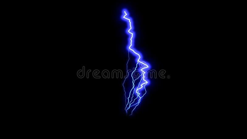 El relámpago azul en el espacio negro, cielo tempestuoso hermoso, 3d rinde el contexto, ordenador genrating ilustración del vector
