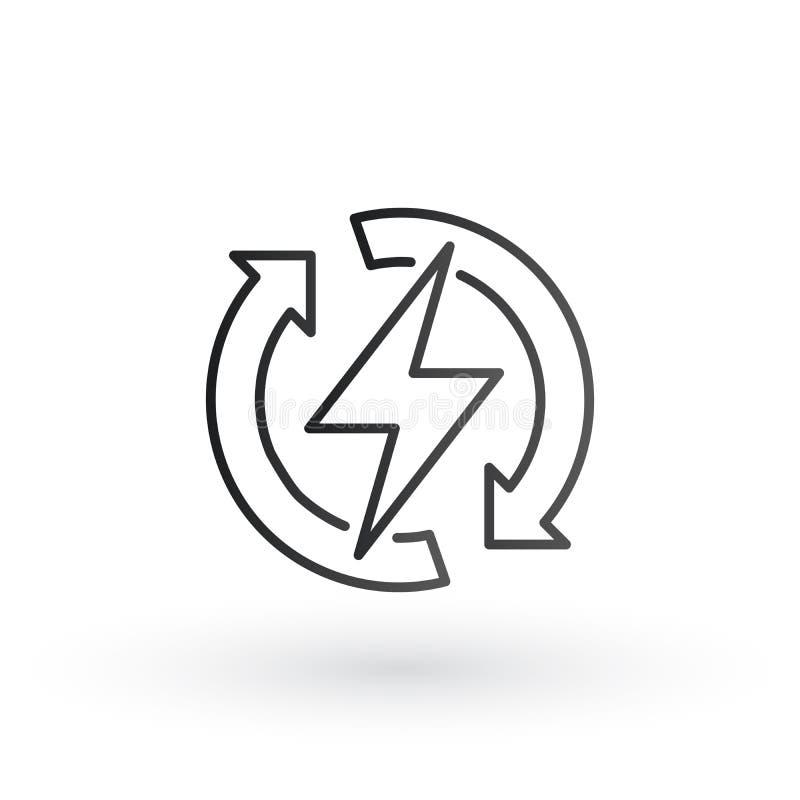 El relámpago del poder con el círculo restaura el icono del logotipo de las flechas Símbolo rápido eléctrico del perno de trueno  stock de ilustración