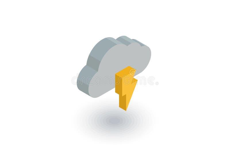El relámpago, nube de la tempestad de truenos, resiste al icono plano isométrico vector 3d ilustración del vector