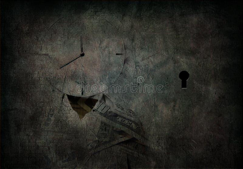 El reloj de Grunge dirigió al hombre ilustración del vector