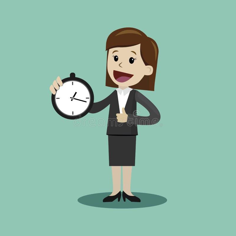 El reloj del control de la empresaria o del encargado y toma control en su tiempo ilustración del vector