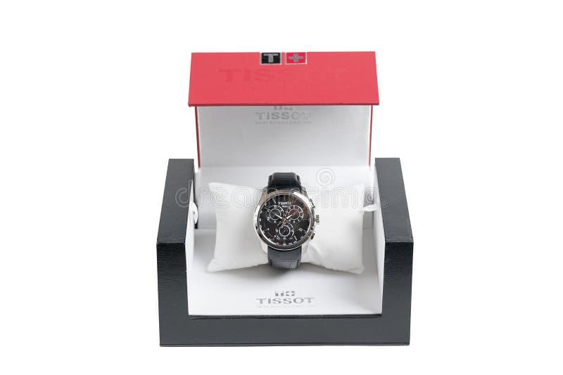 El reloj del cuarzo de Tissot en la caja original en el fondo blanco fotografía de archivo libre de regalías