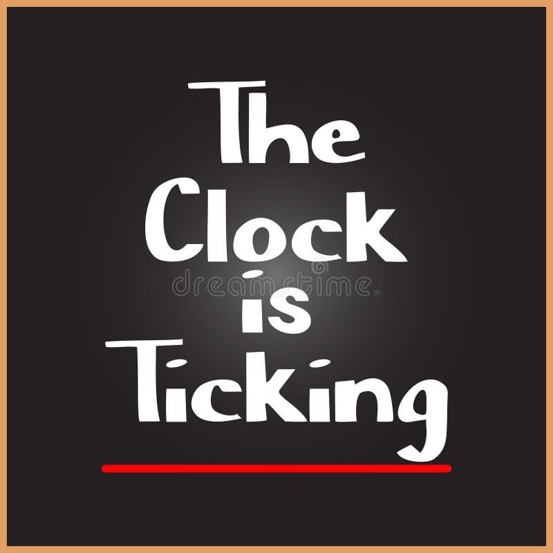 El reloj es palabra que hace tictac en conceptos de la educación, de la inspiración y de la motivación libre illustration