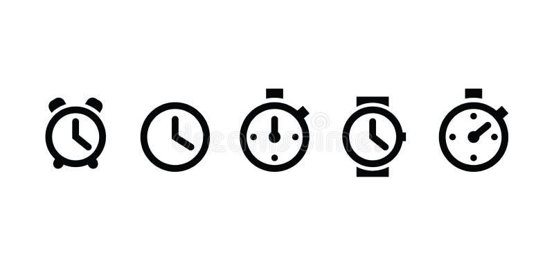 El reloj fijó iconos en estilo plano de moda aislados en el fondo blanco El reloj fijó el símbolo de la página de los iconos para stock de ilustración
