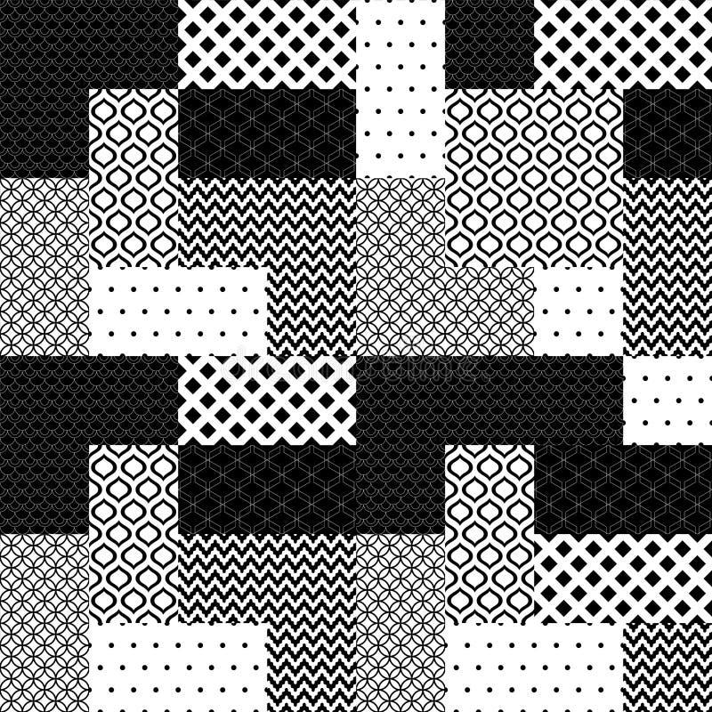 El remiendo blanco y negro acolchó el modelo inconsútil geométrico, vector libre illustration