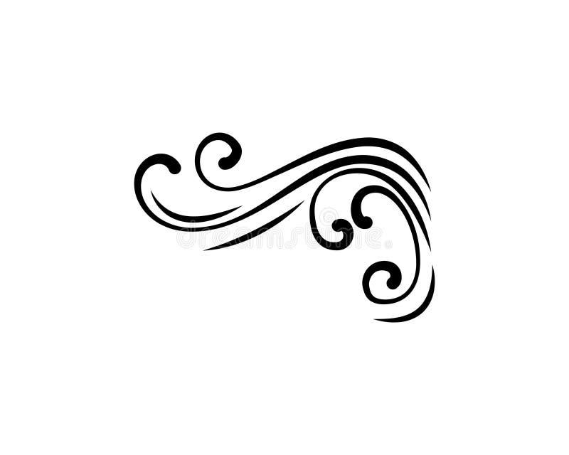 El remolino de la caligrafía, swashe, adorno adornado, enrolla el elemento afiligranado del flourish decoración Vector stock de ilustración