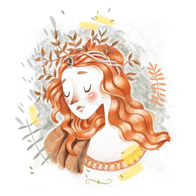 El renacimiento bonito magnífico Botticelli diseñó el retrato dibujado mano principal roja triste del ejemplo del bosquejo del lá libre illustration