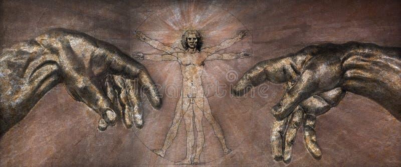 El renacimiento - hombre de Vitruvian y creación de Adán stock de ilustración