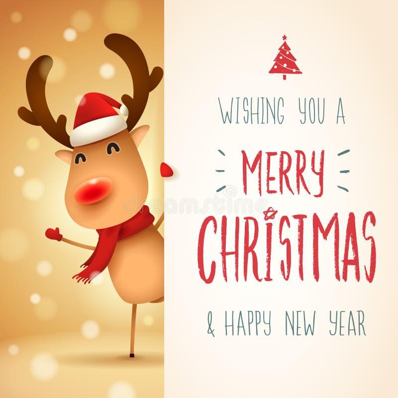 El reno con la nariz roja con el letrero grande Diseño de letras de la caligrafía de la Feliz Navidad libre illustration