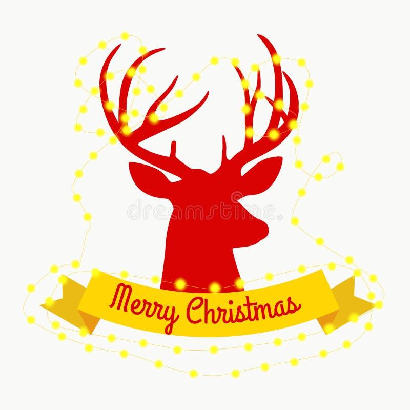 El reno feliz la víspera de luces del Año Nuevo y de la Navidad en los cuernos con las decoraciones le gusta un árbol ilustración del vector