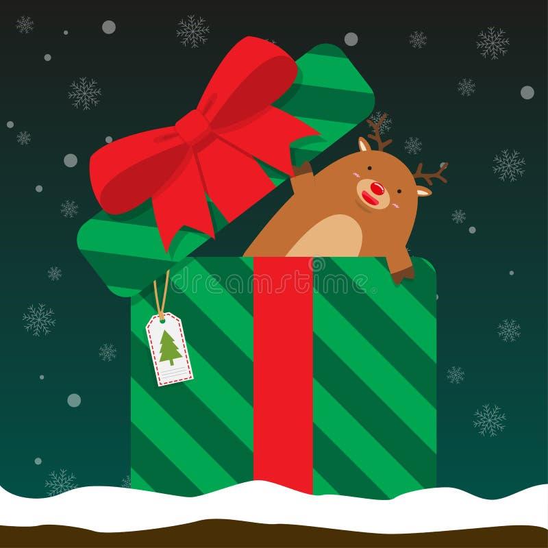 El reno grande gordo lindo sale de la caja de regalo libre illustration