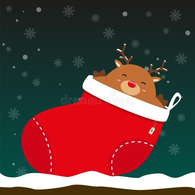 El reno grande gordo lindo sale del calcetín de la Navidad ilustración del vector