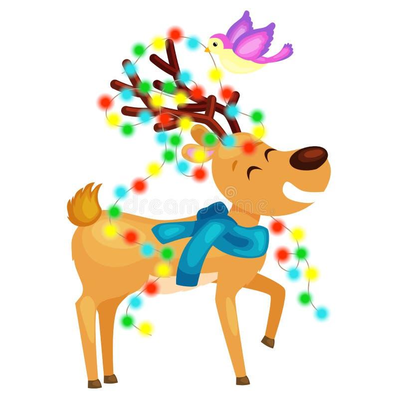 El reno sonriente feliz la víspera de luces del Año Nuevo y de la Navidad en los cuernos con las decoraciones le gusta un árbol d ilustración del vector