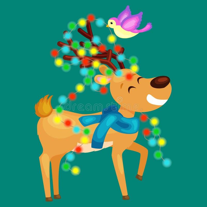 El reno sonriente feliz la víspera de luces del Año Nuevo y de la Navidad en los cuernos con las decoraciones le gusta un árbol d stock de ilustración