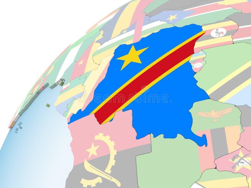El República del Congo Democratic con la bandera en el globo stock de ilustración