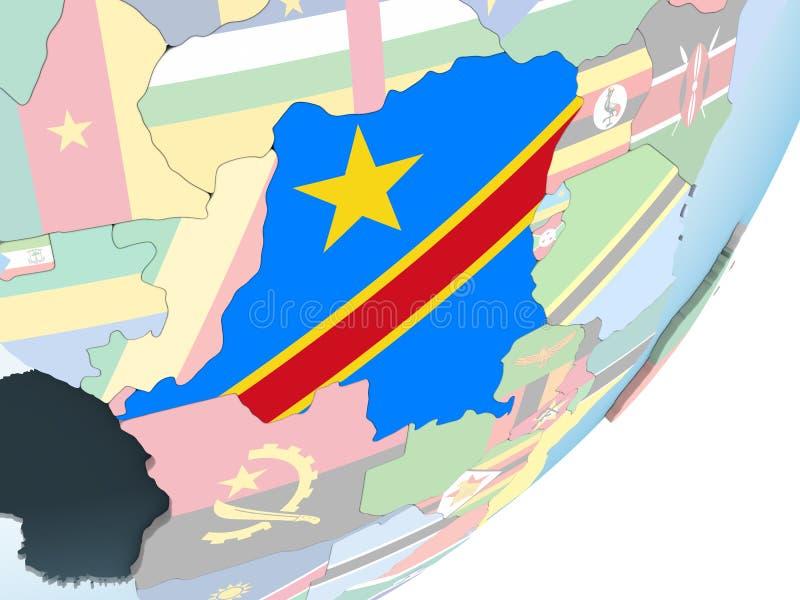 El República del Congo Democratic con la bandera en el globo ilustración del vector